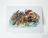 """Merry and Dam Bright   Christmas Card   5x7"""" holiday greeting card   Beaver"""