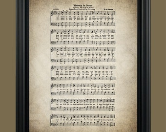 Victory in Jesus Hymn Lyrics - Hymnal Sheet - Sheet Music- Home Decor - Inspirational Art - Gift - Instant Download - #HYMN-038