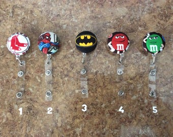 Red Sox, Yankees, Bruins, Superheroes, M&M's etc. Retractable Reel, ID Badge Holder with clip, gift for under 4 dollars