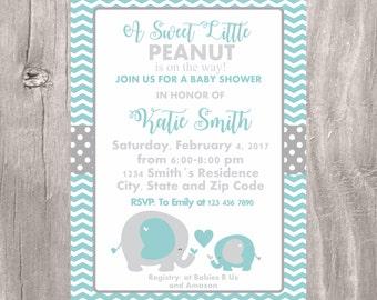 Teal Elephant Baby Shower Invitation, Printable Little Peanut Teal and Grey Elephant Baby Shower Invite, Neutral Baby Shower Elephant Invite