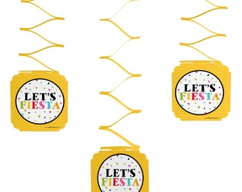 Let's Fiesta - Mexican Fiesta - Hanging Decorations - Cinco de Mayo Hanging Decorations -  Mexican Party  Party Supplies - Set of 6