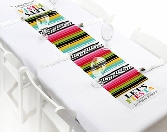 Let's Fiesta Table Decoration - Mexican Fiesta Petite Table Runner - Cinco de Mayo Party Table Decorations - Personalized Party Supplies