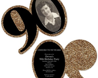 90th Birthday Invitations - Adult 90th Birthday - Gold Personalized Photo Birthday Party Age-Shaped Invites - Set of 12