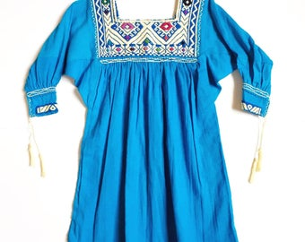 Andi Blouse / Blue Toddler Top / Embroidered Blue Toddler Top / Mexican Toddler Blouse / 3T Toddler Top / Mexican Embroidered Top