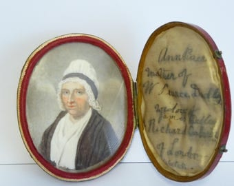 1700s - 1800s Leather Cased Portrait Painting of a Lady LAYBY AVAILABLE (08090)