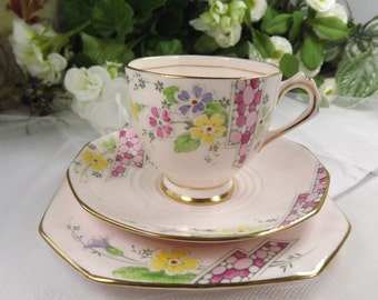 Tuscan Pink Teacup, Saucer , Plate Hand Finished Art Deco