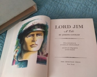 Vintage Joseph Conrad Lord Jim 1959. Illustrated by Lynd Ward . Heritage Press NYC . Bound in Faux Leather . Literature& Fiction, Old Books