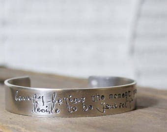 CUSTOM HANDSTAMPED Nickel Silver BANGLE Cuff by mothercuffer