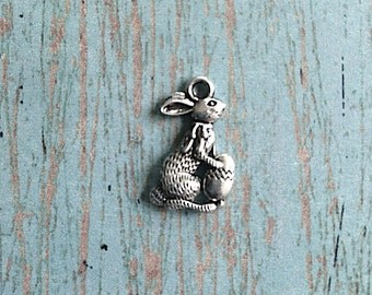 Bulk 25 Easter bunny charms (2 sided) antique silver tone - rabbit charms, rabbit pendants, Easter charms, bunny charms, holiday charm, N10