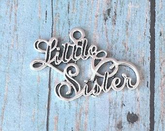 Large Little Sister charm (1 sided) antique silver tone - sorority charm, new sister charm, Little Sister pendant, little sis charm, BX132