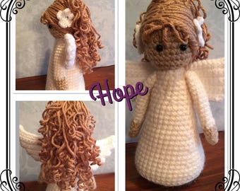 Little Buddy Handmade crocheted Angel with wings and  curly locks of hair