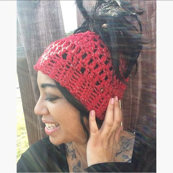 Messy Bun Hat/Dread Tube in Red Sparkle