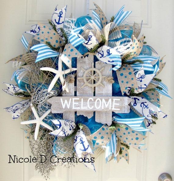 Deco Mesh Wreath Summer Wreath Ocean Wreath Front Door