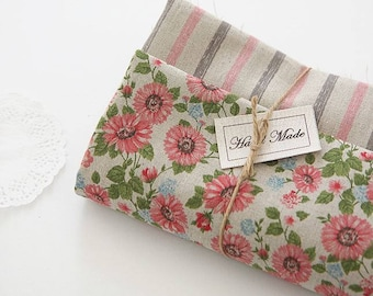 Floral or Stripe Pattern Linen Fabric by Yard - 2 Designs Selection