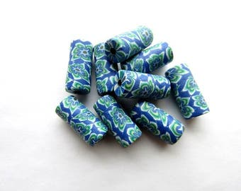 Blue  Flower Fimo Beads Polymer Clay Beads Fimo Beads 16x7 mm Tube Polymer Clay Beads Craft Supply (10)