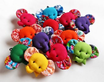 ELEPHANT Set 50 - Elephant keychains, Animal keychain, Keychain keyring, Fabric keychain, Stuffed elephant, Key ring, Gift