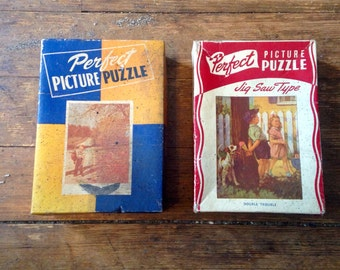 1940's Perfect Picture Puzzle 2 pack. Double Trouble, and Small Fry Luck. Jigsaw Puzzle No 15W and 1611. Consolidate Paper Box Company