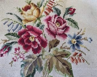 Vintage floral needlepoint