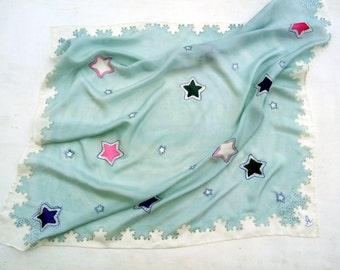Stars scarves Square scarf Hand painted shawl Pure silk Spring shawl Gray scarf Batik shawl Girlfriend gift birthday gift for her