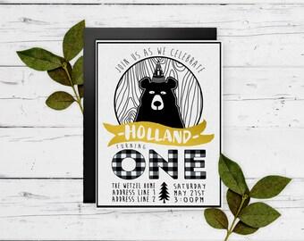 Black Bear first birthday digital file party invitation