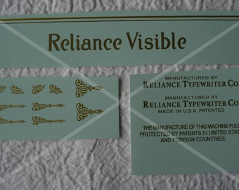 Reliance Visible typewriter decal set