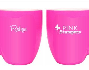Pink Stampers Engraved logo Bistro Mug - BIG! Optional Name