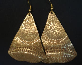 Hammered Bronze Big Unique Pattern Earrings Double Faced Earrings Contemporary Patina Long and Big Earrings