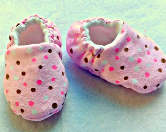 Pink and Brown Infant Slippers