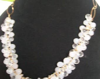White and clear Necklace + Earring