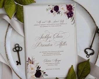 Glitter Gold Wedding Invitation, Elegant Wedding invitation, Burgundy Wedding Invitation, Burgundy and Gold, DEPOSIT