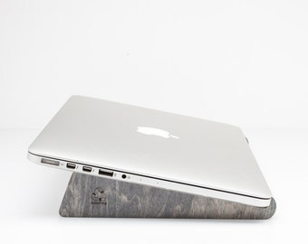 Recycled skateboards wood laptop stand