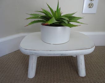 Vintage White Wooden Step Stool Milking Stool Small Stool Small Bench