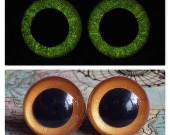 16.5mm Glow In The Dark Eyes, Metallic Copper, Amber Safety Eyes With Yellow Glow, 1 Pair Of Glow In The Dark Safety Eyes