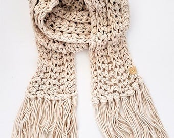 Jersey Scarf - extra long knit scarf, Summer scarf, bohemian style scarf , boho scarf, festival scarf with fringe, long scarf with tassels