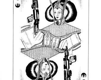 Queen Amidala Star Wars Drawing, Illustration, Fanart, Artwork, line drawing, playing card