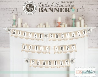 RSBAN001 - Relief Society Banner Faith Hope Charity Bunting Banner