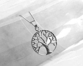 Lovely Sterling Silver Tree of Life Necklace, Open Work Charm Necklace, Silver Tree Pendant, Nature Inspired Jewelry, Curb Chain Necklace