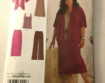 Simplicity Uncut Pattern 2419 Plus Size Ladies Clothes 20W - 28W Dress, Top, Pants, Skirt, Jacket