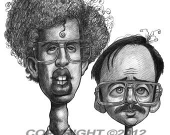 Napoleon Dynamite Napoleon and Kip Caricature Art Poster Limited Edition Print