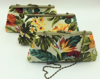 Hawaiian Clutch, Kiss Lock Clutch, Tropical Clutch, Clutch Bag, Evening Bag, Cocktail Clutch in Hawaiian Floral on White - Made in Maui