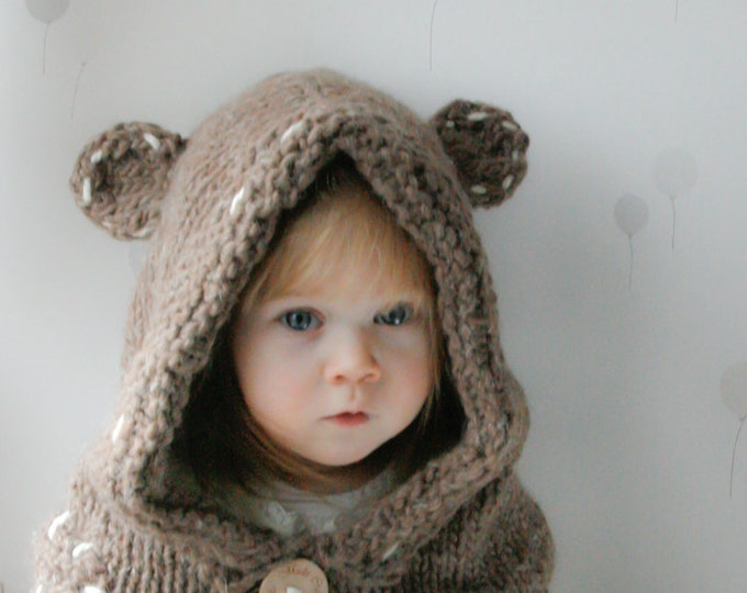 KNITTING PATTERN teddy bear hooded cowl Barri (baby, toddler, child, adult sizes)