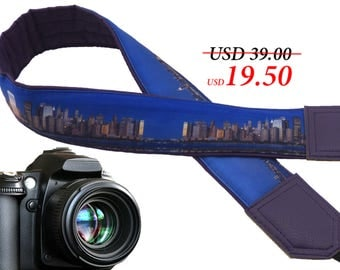 Urban camera strap. City. Town. Photography. DSLR / SLR Camera Strap. Camera accessories for travelers. Navy blue. Purple faux leather ends.