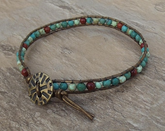 Leather wrap ankle bracelet