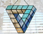 Impossible Geometry Penrose Triangle Stained Glass Suncatcher in Purple, Turquoise, and Grey - Ready to Ship