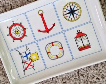 Nautical Melamine Plastic Tray with Nautical Theme
