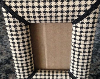 Black and White Fabric Hounds Tooth Check Picture Frame