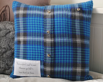 Memory cushion, keepsake cushion, shirt cushion, grief pillow, made with your OWN memory clothes