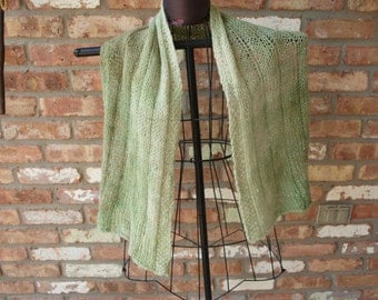 OOAK Hand dyed, hand knit scarf/shawl/wrap (made with hand spun wool)