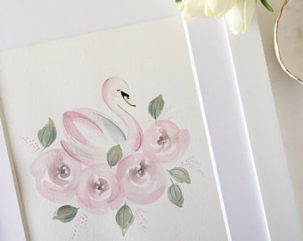 Swan Nursery Art, Swan Art, Pink Swan Painting, Swan Nursery Decor, Swan and Roses Nursey, Pink Swan Nursery