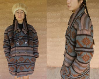 SALE! 1970's wool blend coat jacket double breasted with front pockets navajo indian boho aztec tribal festival